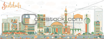 Abstract Jeddah Skyline with Color Buildings.