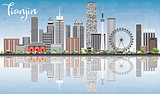 Tianjin Skyline with Gray Buildings, Blue Sky and Reflections.