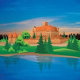Cartoon hand drawing color castle Illustration