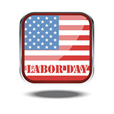 Labor day card with the flag of unites states of america in a silver square. Digital vector image