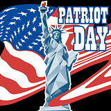 Patriot day card with the flag of unites states of america and statue of liberty