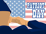 Patriot day card with the flag of unites states of america and a military soldier with hand gesture saluting