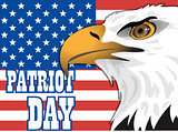 Patriot day card with the flag of unites states of america and big eagle bird