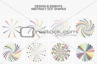 Abstract colorful dot shapes.
