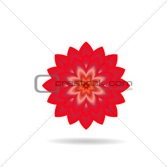 Abstract red vector flower.