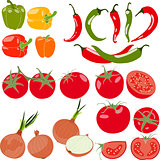 Set of vegetables with peppers, chili pepper, tomatos, onion, vector illustration, isolated, on white background.