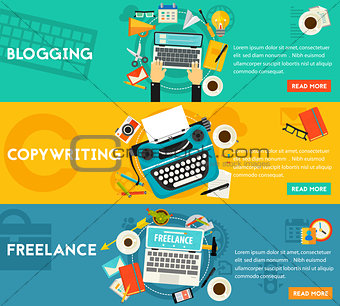 Blogging, Freelance And Copywriting Concept Banners