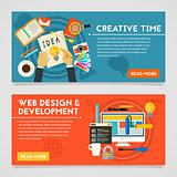 Creative Time And Web Design Development Concept Illustrations