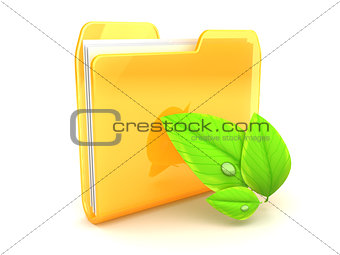 folder and leaves