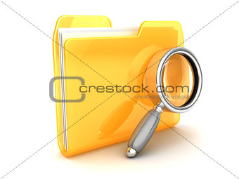 folder and magnify glass