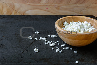 Bowl of cottage cheese for breakfast