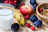 Super breakfast with muesli, berries, fruits and milk