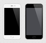 Realistic Vector Mobile Phone. Smartphone mock-up. Black and white phones on transparent background