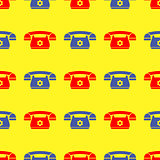 Seamless Retro Red Blue Phone Pattern