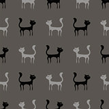 Black Grey Cats Seamless Pattern