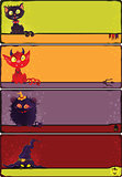 Halloween monsters banners set.