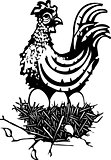 Woodcut Chicken on nest
