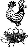 Woodcut Rooster on nest