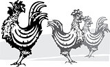 Three farm roosters