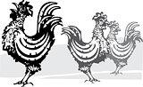 Three farm roosters