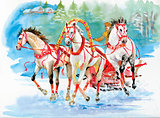 Horse carriage outdoors. Horses folk painting