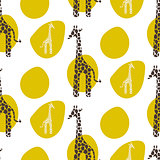 Giraffe vector seamless pattern. Safari animal texture green stains background.