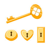 Keys gold vector cartoon illustration. Isolated on white.