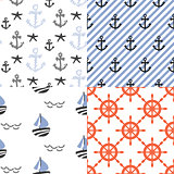 Seamless vector pattern set with nautical sailor theme.