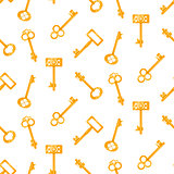 Gold keys seamless vector pattern on white. Retro cartoon key background.