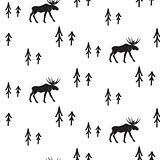 Scandinavian simple style black and white deer pattern.