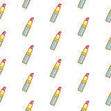 Lipstick line icon seamless pattern.