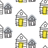 Line hut houses scandinavian ornament. Vector hand drawn seamless pattern.