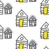 Line hut houses scandinavian ornament. Vector hand drawn seamless pattern.