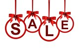 sale icon with stylize red ribbon