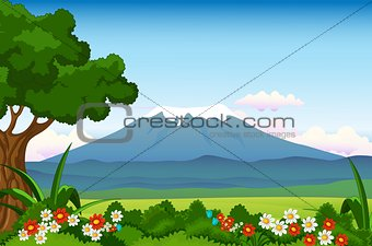 beauty landscape with flower garden