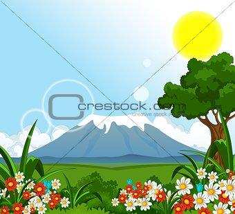 beauty summer landscape with flower garden