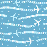 Cartoon airplane with flags seamless pattern
