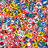 Different road signs seamless pattern