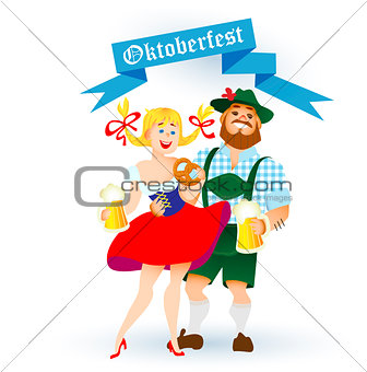 bavarian man and woman with a big glass of beer