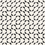 Vector Seamless Black and White Irregular Arcs Pattern
