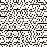 Vector Seamless Black and White Irregular Lines Pattern