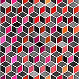 Vector Seamless Multicolor Gradient Cube Shape Rhombus Grid Geometric Pattern