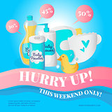 Vector newborn accessories poster design template. Baby goods sale voucher.