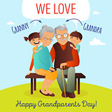 Grandparents Day vector concept. Illustration with happy family. Grandfather, grandmother and grandchildren.