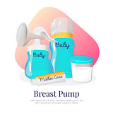 Vector goods for expression of breast milk. Newborn accessories illustration in cartoon style