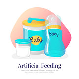 Vector artificial feeding goods illustration. Newborn accessories in cartoon style
