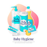 Vector baby hygiene illustration. Newborn accessories in cartoon style