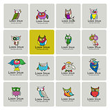 Set of funny owl collection for your design