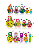 Collection of russian nesting dolls, Matryoshka for your design