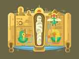 Mummy in a sarcophagus flat design